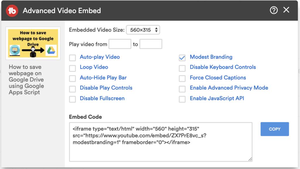 hide youtube logo when embed
