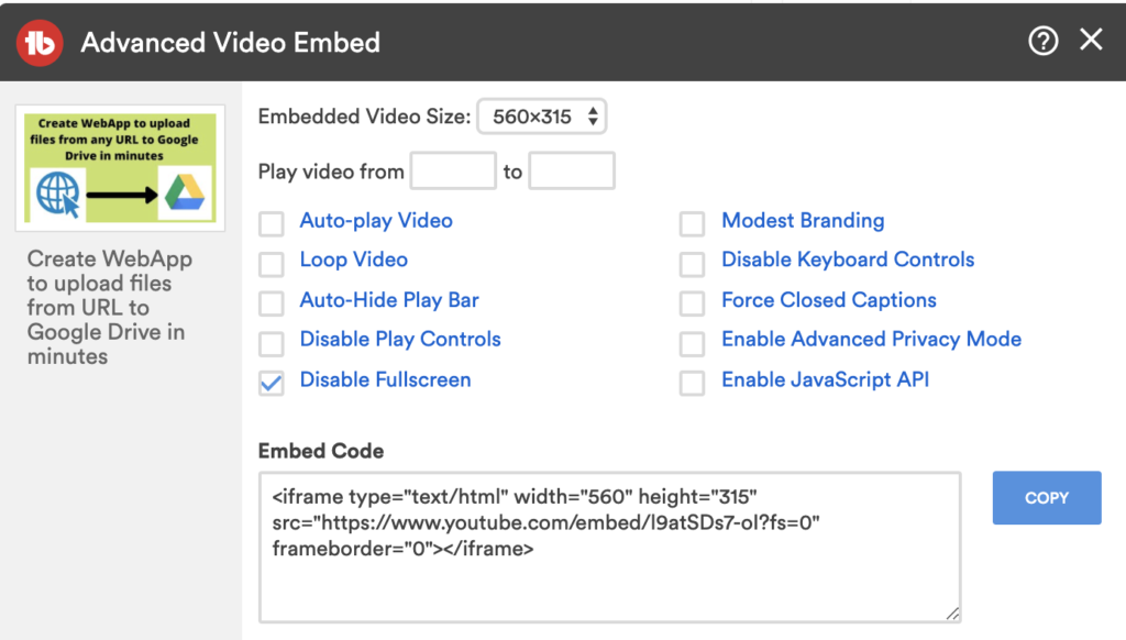 youtube embed disable full screen