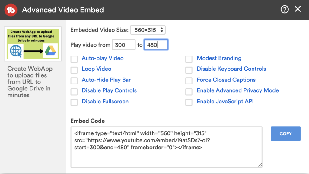 youtube embed start and end time