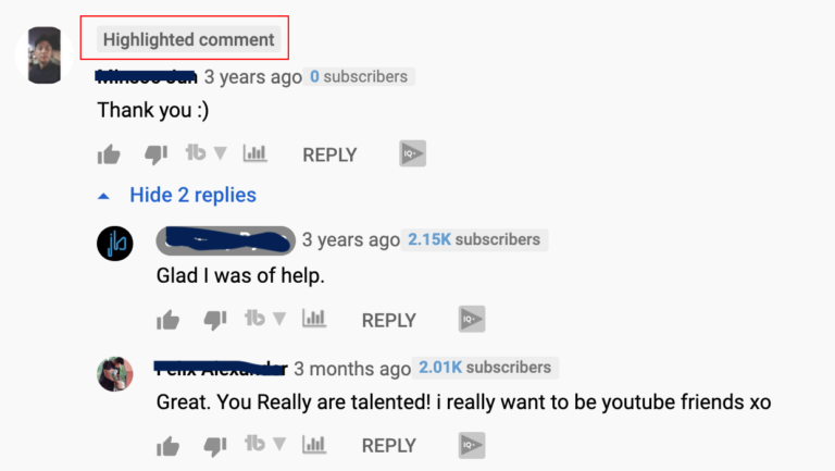 Highlighted Comment On YouTube