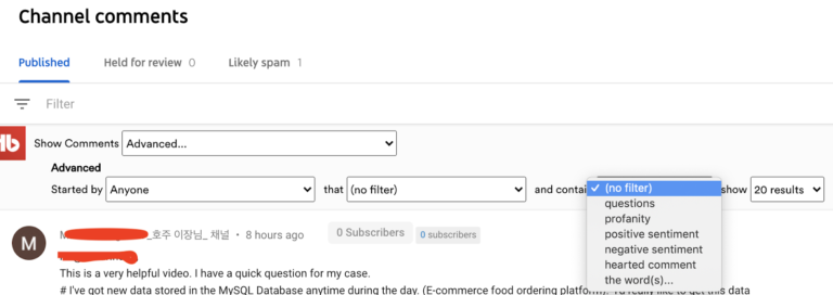 youtube advanced comment filter
