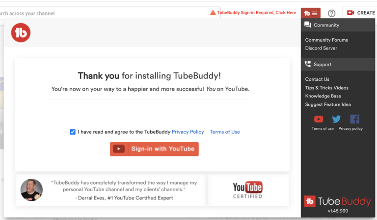 sign in to TubeBuddy