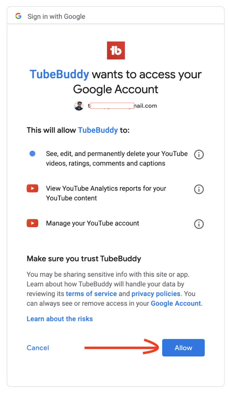 tubebuddy access for chrome