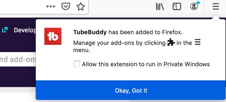 tubebuddy added to firefox