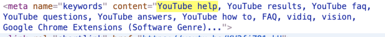 youtube video tags on source code
