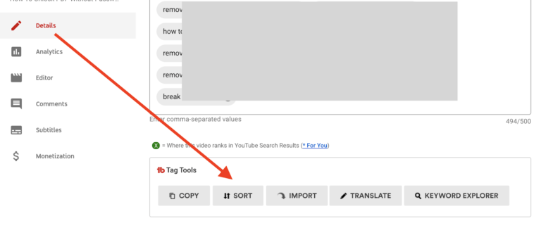 youtube video tags sort