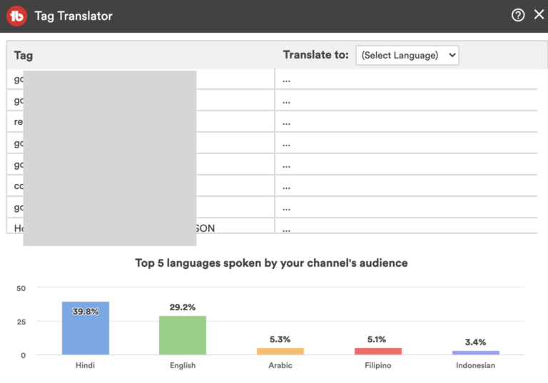 youtube viewers language stats