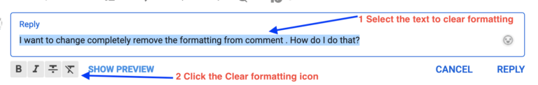 clear youtube comment formatting