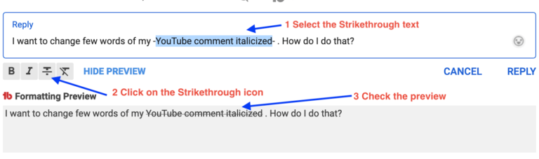 stike youtube comments formatting