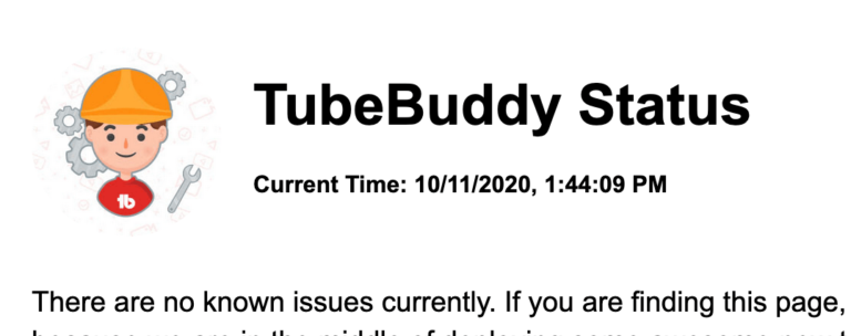 tubebuddy login problem status