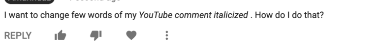 youtube comment formatting italic