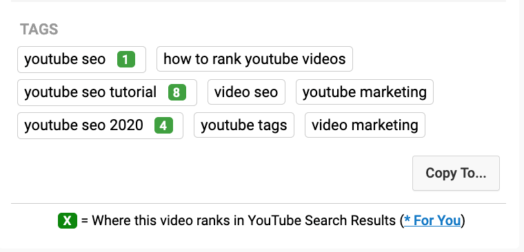 youtube tag search ranking