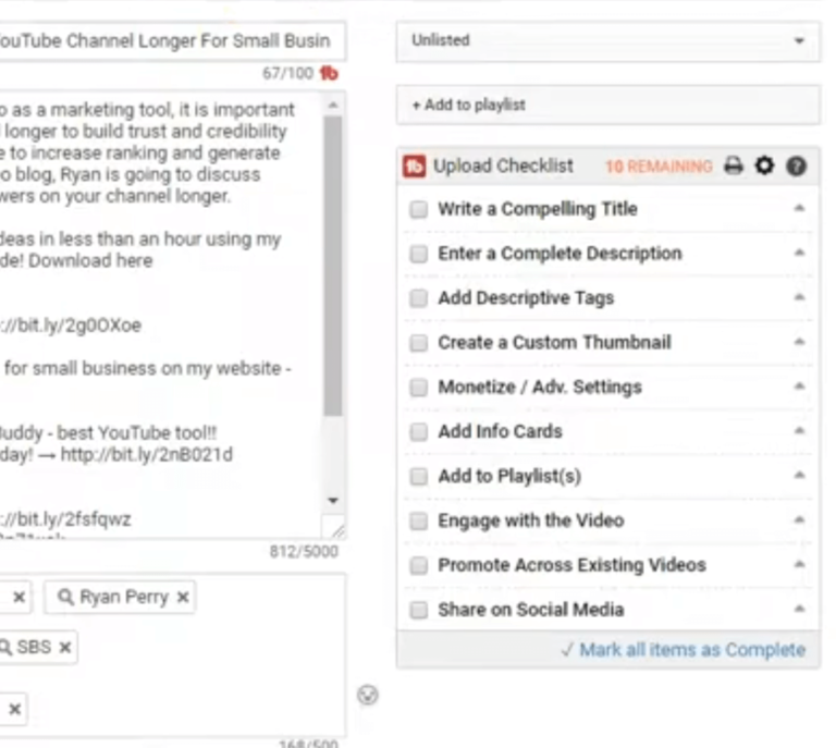 youtube video upload checklist