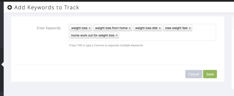 how to add keywords to track on YouTube