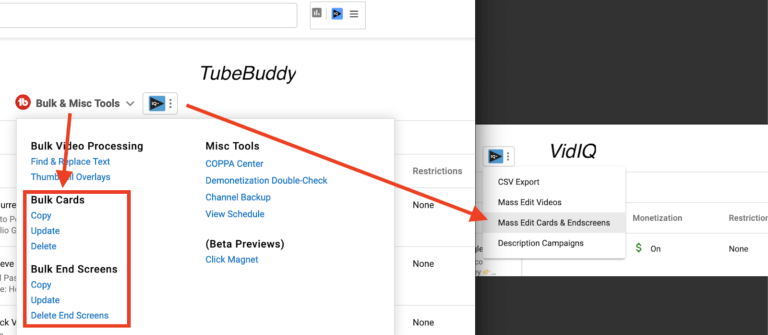 TubeBuddy bulk update cards end screen