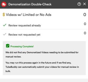 Tubebuddy demonetization double check