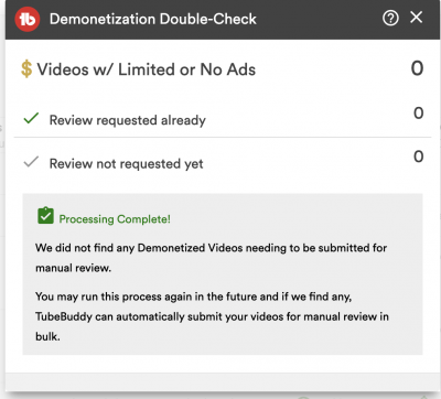 youtube demonetization double check